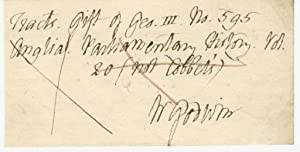 An Autograph Note Signed �W Godwin�: William Godwin (1756-1836)