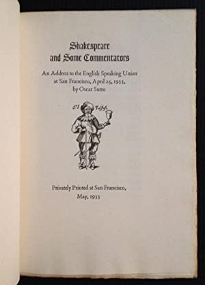 Shakespeare and Some Commentators: An Address Delivered to the English Speaking Union at San Fran...