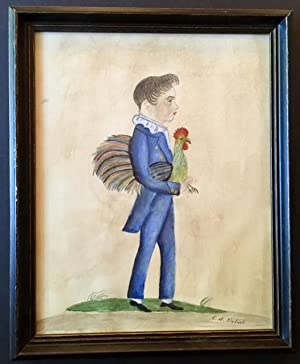 Boy Holding a Rooster (Mid 20th Century Folk Art)