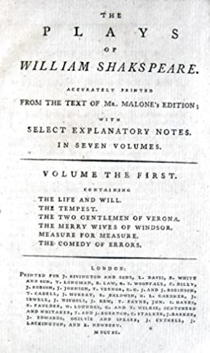 The plays of William Shakespeare accurately printed: SHAKESPEARE WILLIAM