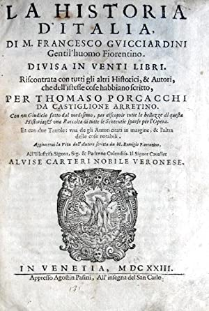 La historia d'Italia? divisa in venti libri.: GUICCIARDINI FRANCESCO