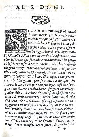 La Zucca del Doni fiorentino. Divisa in: DONI ANTON FRANCESCO