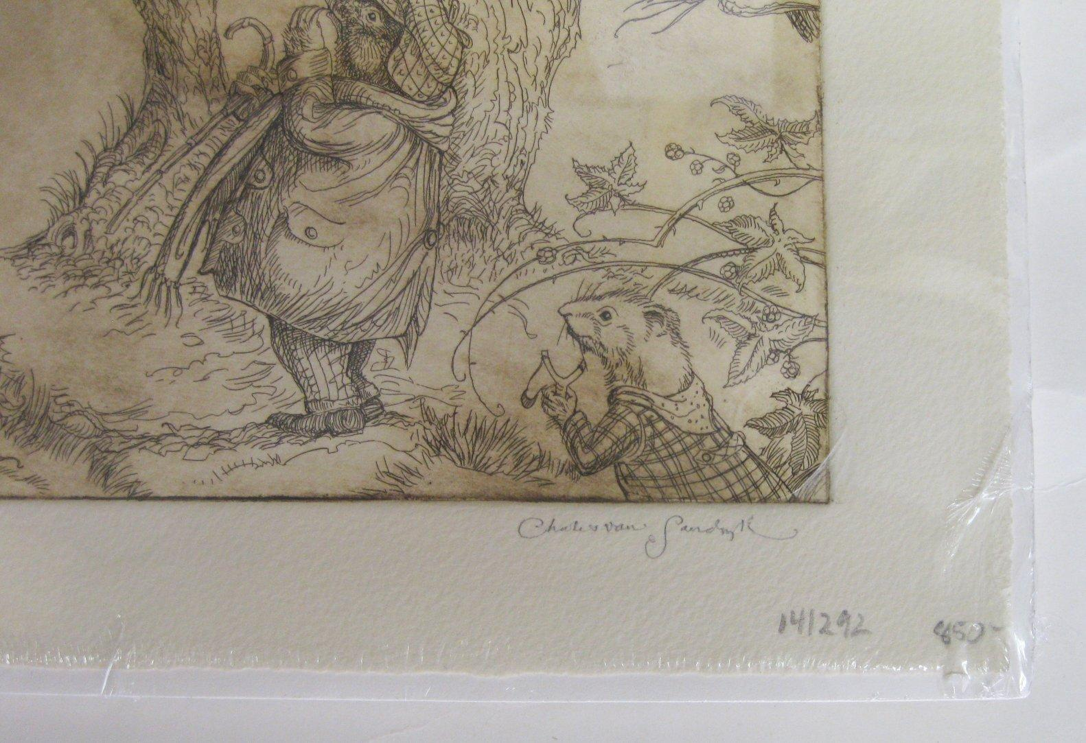A Scene from The Wind in the Willows [Etching] Van Sandwyk, Charles Near Fine