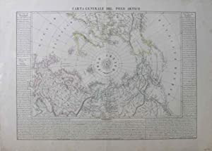 Carta Generale Del Polo Artico [Original Hand-Coloured 1844 Map]