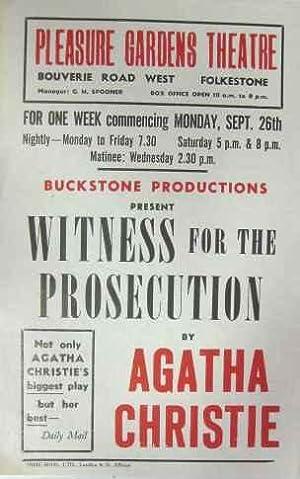 Pleasure Gardens Theatre. Buckstone Productions Present: Witness: Pleasure Gardens Theatre