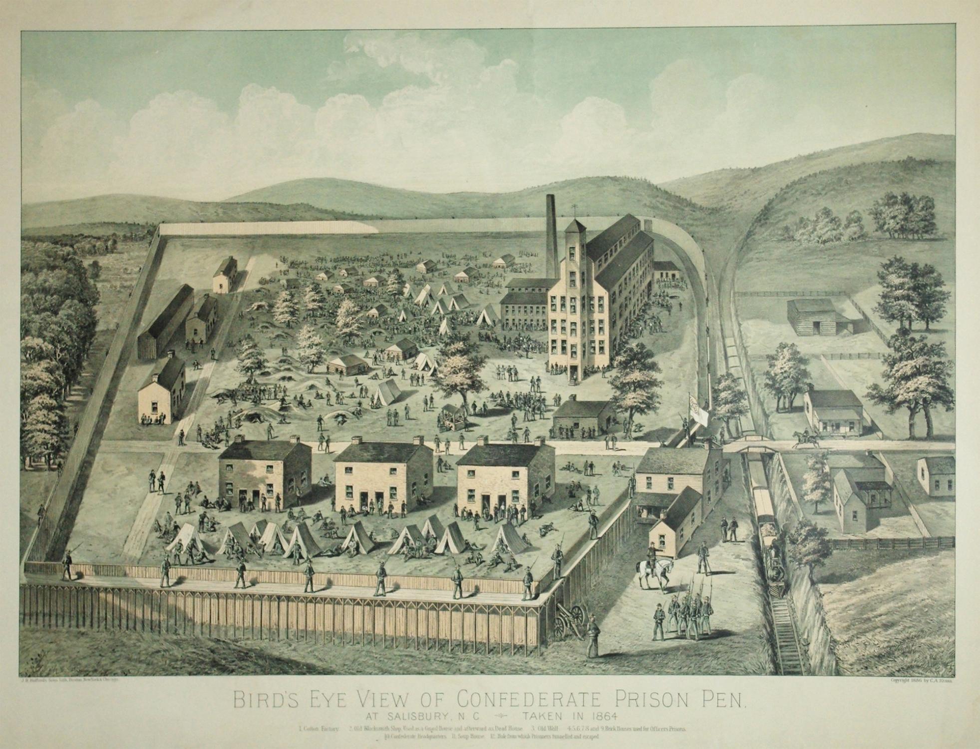 Bird's Eye View of Confederate Prison Pen.: John Henry Bufford