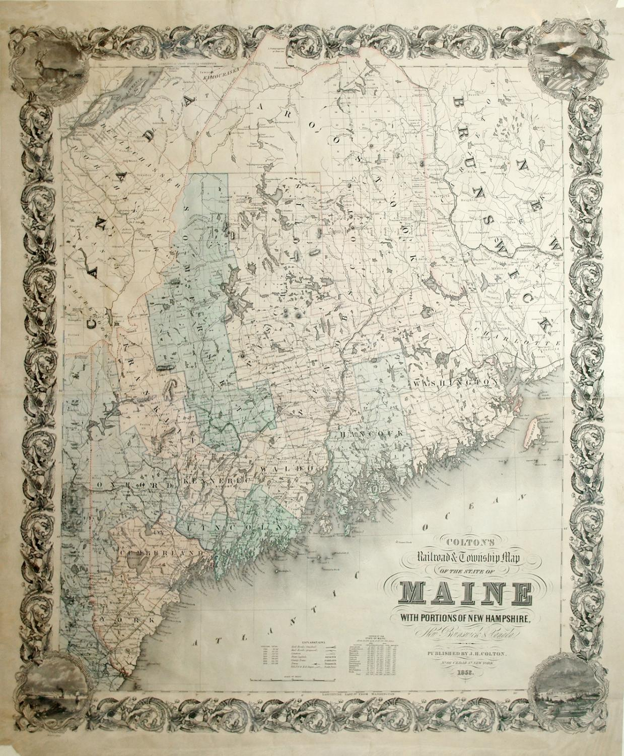 Colton's Railroad & Township Map of the State of Maine with Portions of New Hampshire.: J. ...