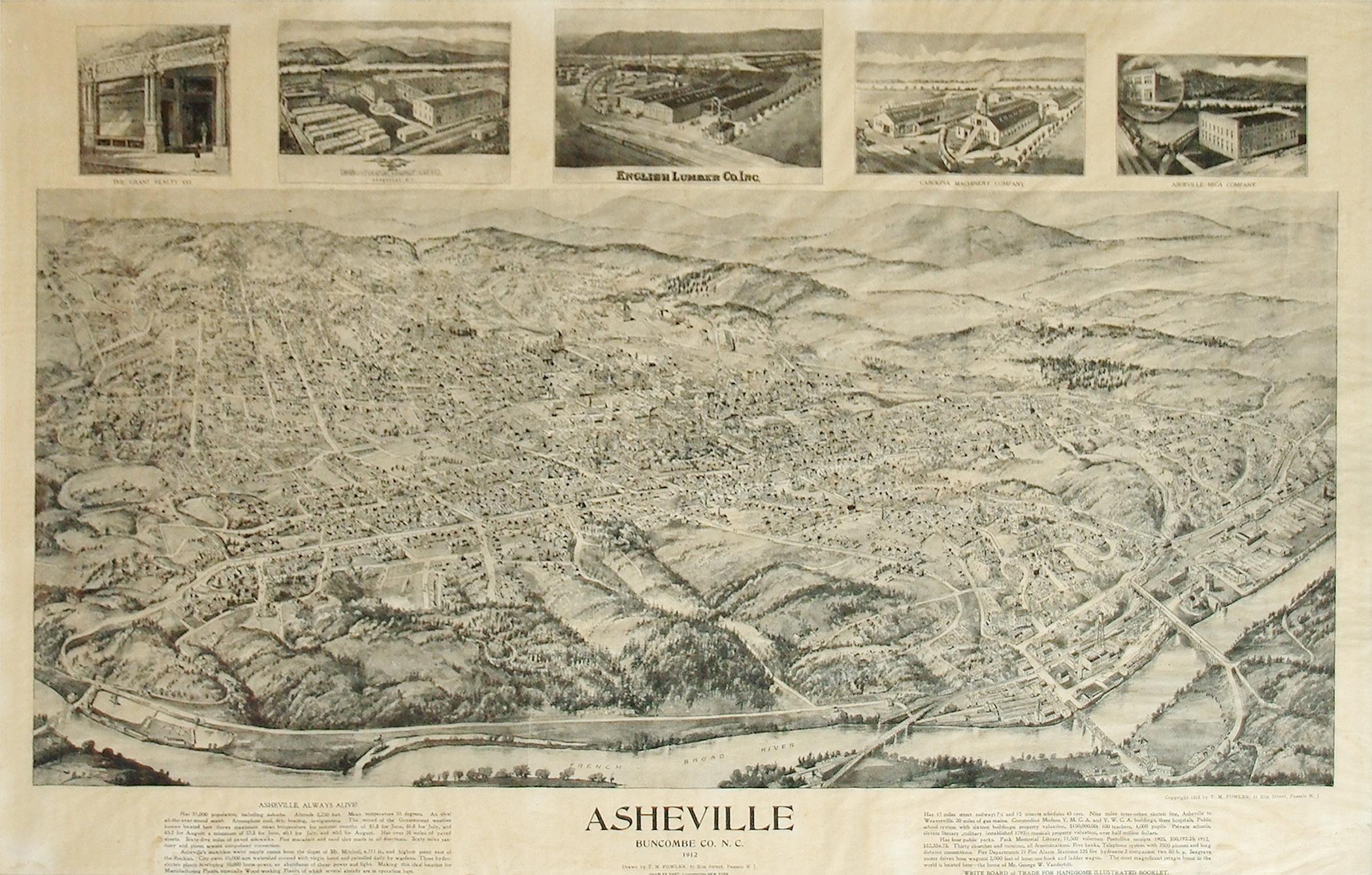 Asheville, Buncombe, Co., N.C. 1912: Thaddeus Mortimer Fowler (1842-1922)