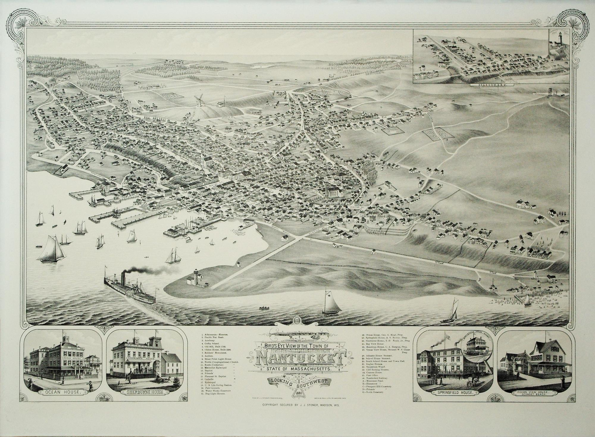 Bird's Eye View of the Town of Nantucket in the State of Massachusetts: Lithograph by Beck and ...