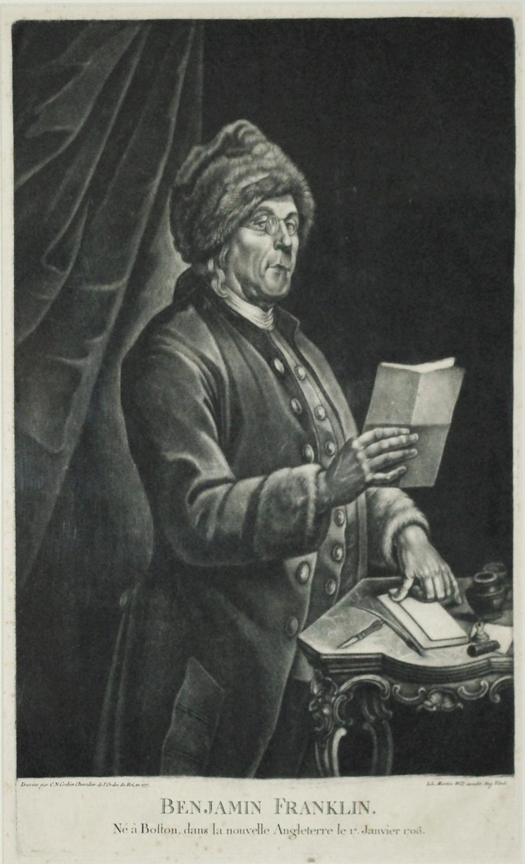 Benjamin Franklin. Ne a Boston dans La Nouvelle: C. N. Cochin Chevalier (1715-1790)