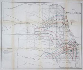 Map of Kansas and Nebraska: Lith., by Bowen & Co.
