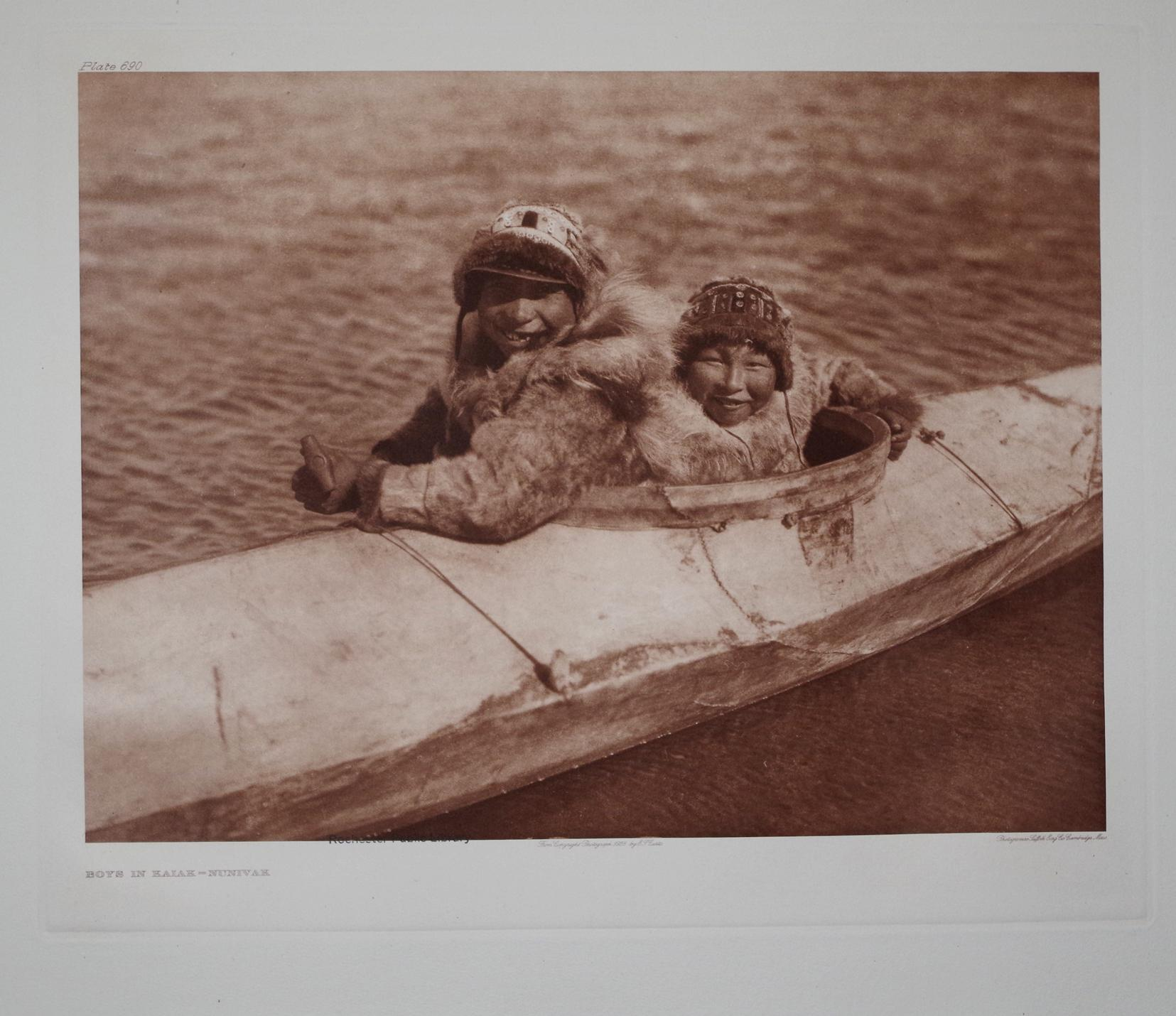 Boys in Kaiak - Nunivak, Plate 690 from The North American Indian. Portfolio XX: Edward S. Curtis (...