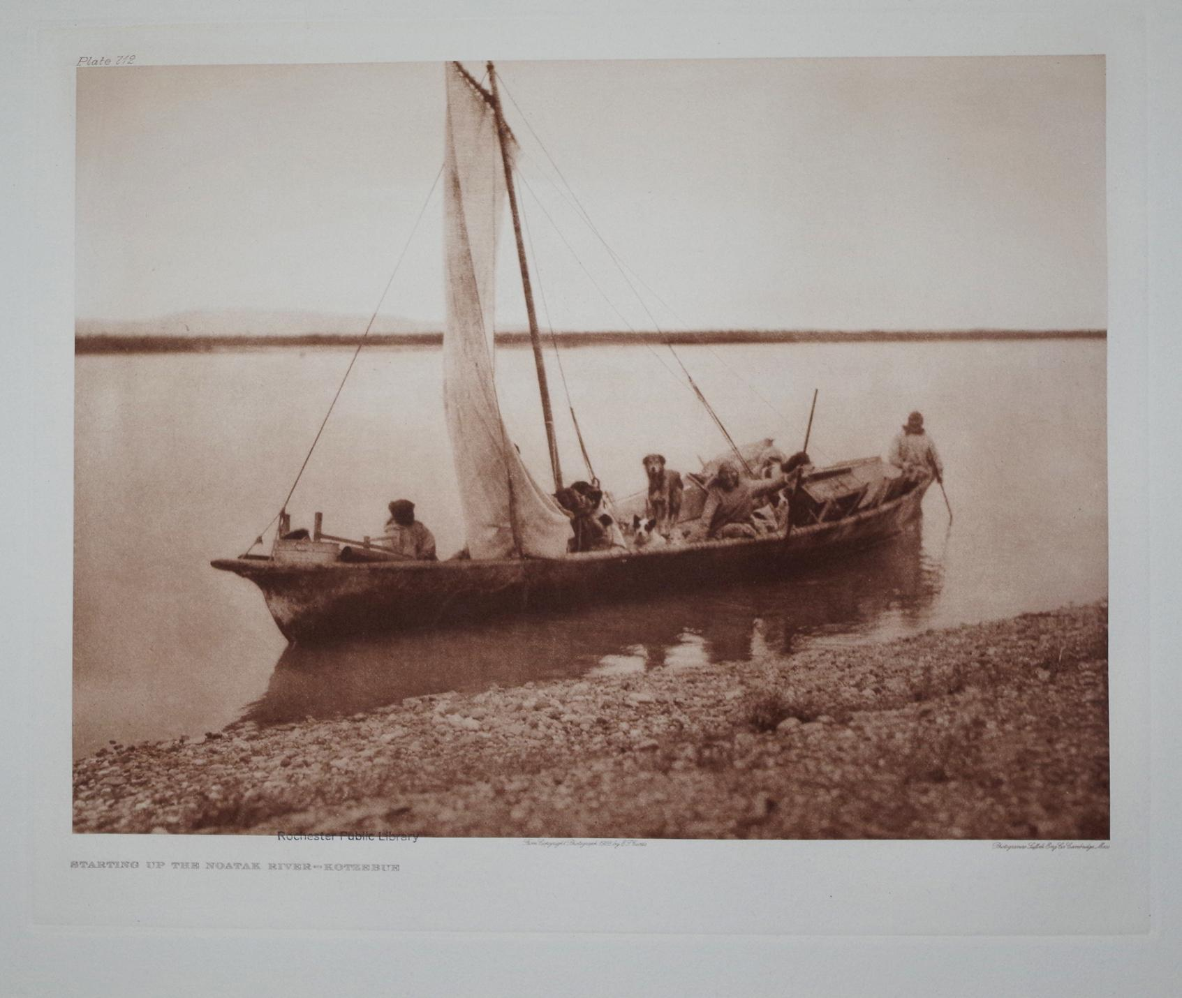 Starting up the Noatak River - Kotzebue, Pl. 712 from The North American Indian. Portfolio XX: ...