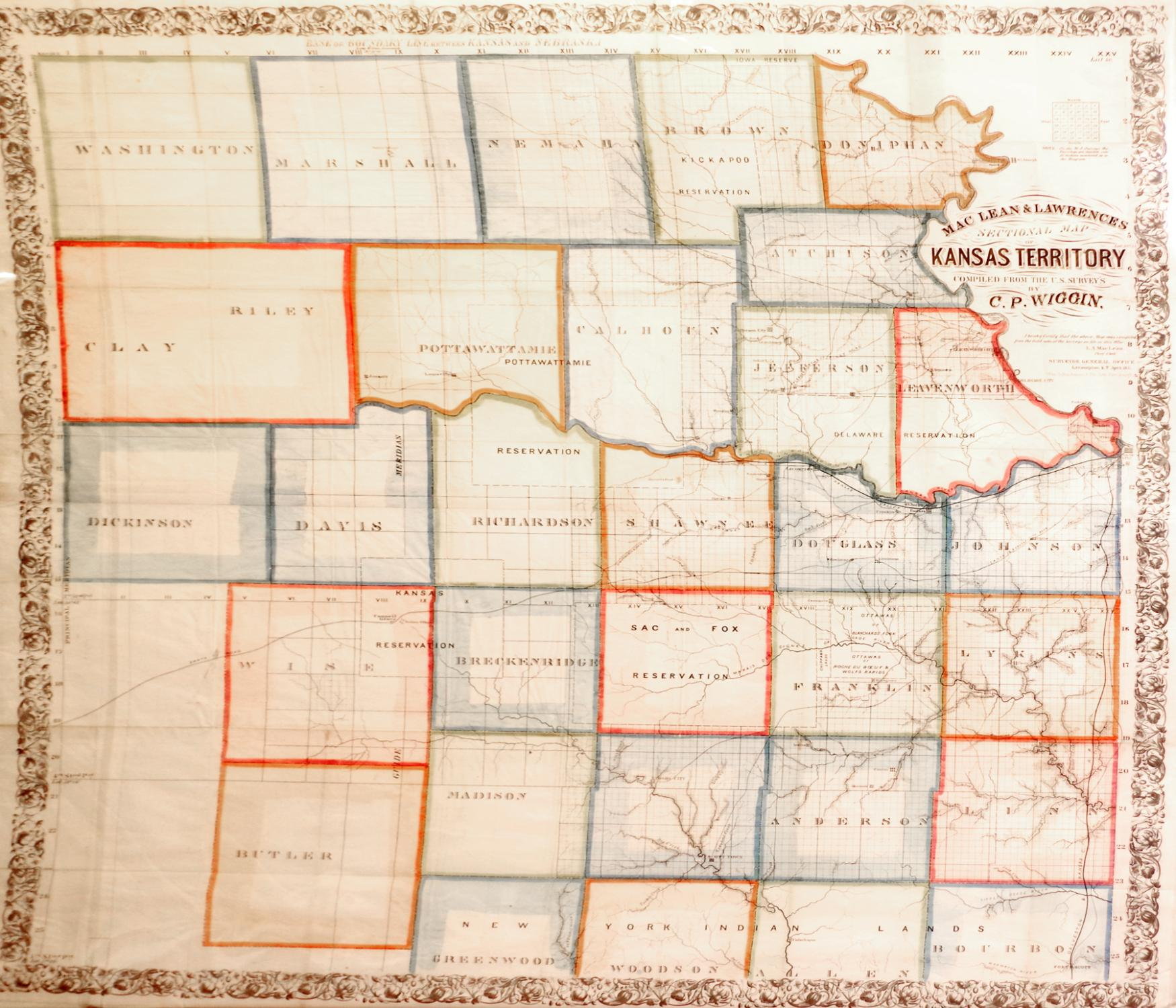 Mac Lean and Lawrence's Sectional Map of Kansas.: C. P. Wiggin