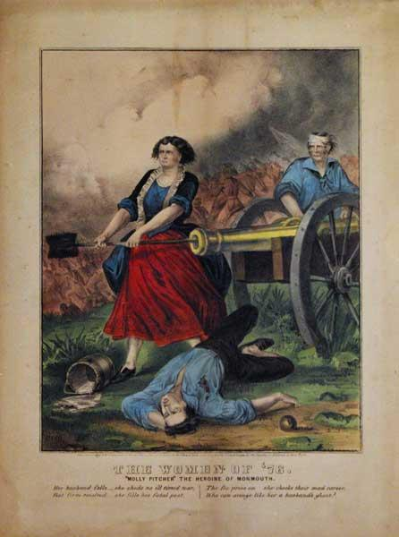"""The Women of '76. """"Molly Pitcher"""" the Heroine of Monmouth: Currier & Ives"""