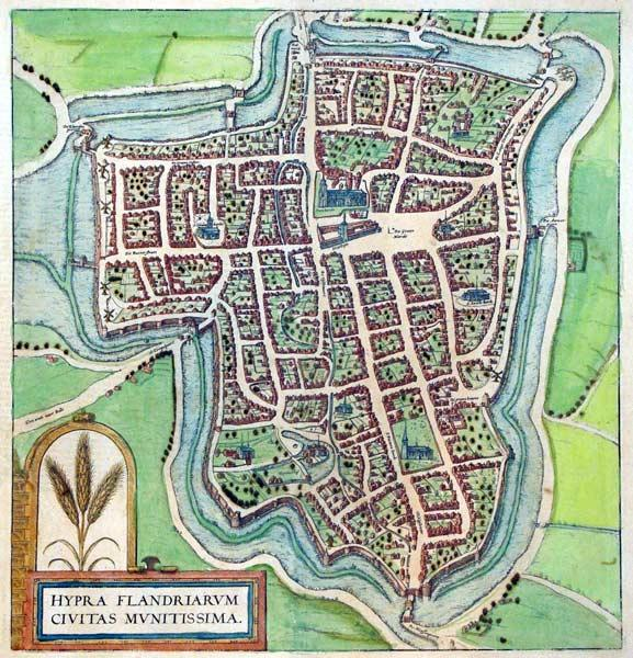 Hypra Flandriarum Civitas Munitissima (Flanders): Georg Braun & Frans Hogenberg