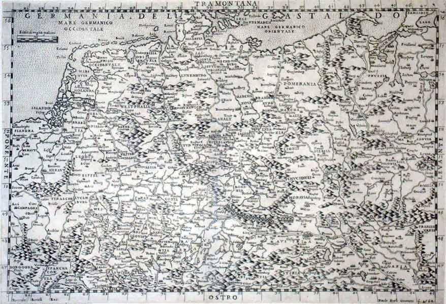 Germany. Germania Del Gastaldo. Engraved general map including the Low Countries and Poland.: Paulo...