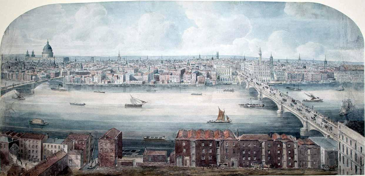 A Panoramic View of London with St. Paul's and London Bridge: Gideon Yates (fl. 1803-1837)