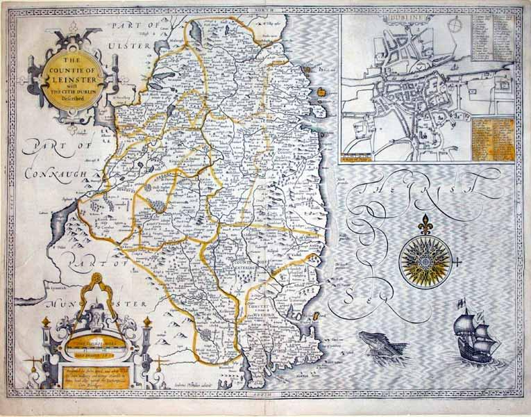 The Countie of Leinster with The Citie Dublin Described/Dubline (inset) (Leinster/Dublin)...