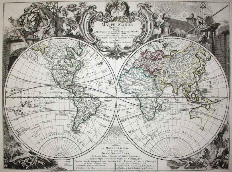 Mappe Monde Nouvelle Dediee A Monseigneur le Comre de Maurepas Ministre et Secretaire d'Etat: ...