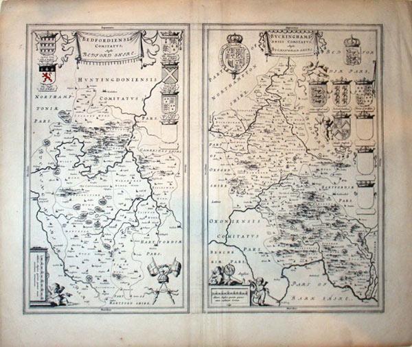 Bedfordiensis Comitatus, Anglis Bedford Shire./Buckinghamiensis Comitatus, Anglis Buckingham ...