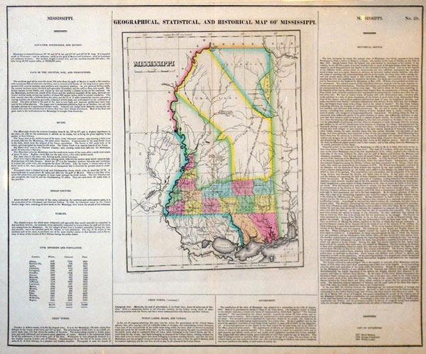Geographical, Statistical, and Historical Map of Mississippi: Young & Delleker
