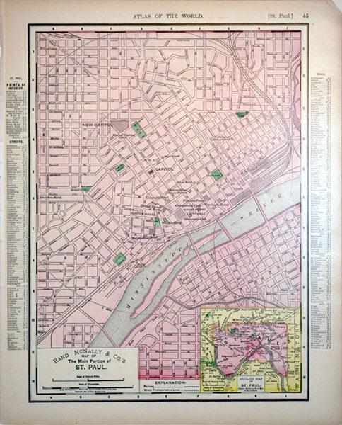 Rand McNally & Co.'s Map of the Main Portion of St. Paul/(inset) Outline Map of St Paul: ...