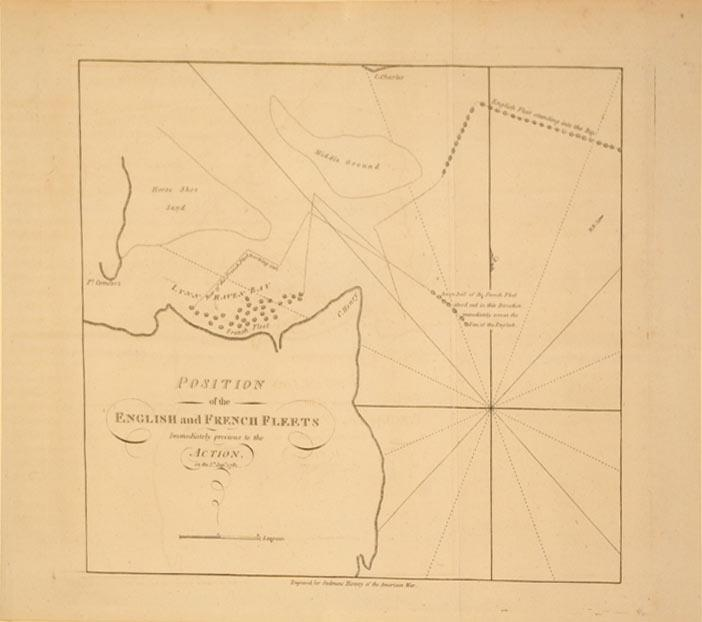 Position of the English and French Fleets Immediately previous to the Action on the 5th Septr. 1781...