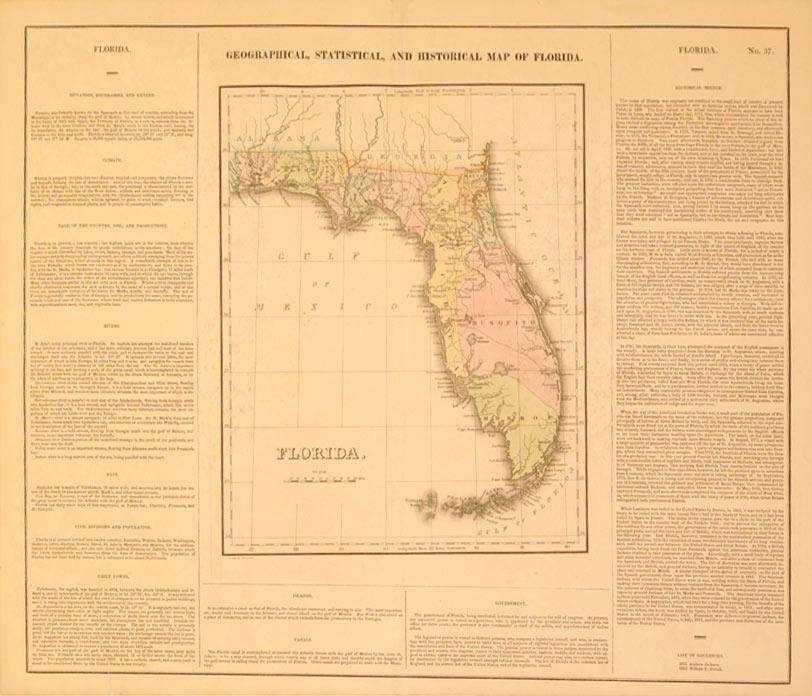 Geographical, Statistical, and Historical Map of Florida: Young & Delleker