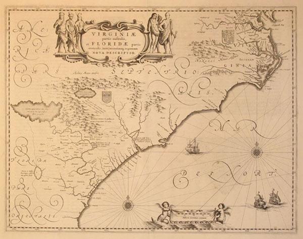 Virginiae partis australis, et Floridae partis orientalis, interjacentiujq regionum Nova Descriptio...
