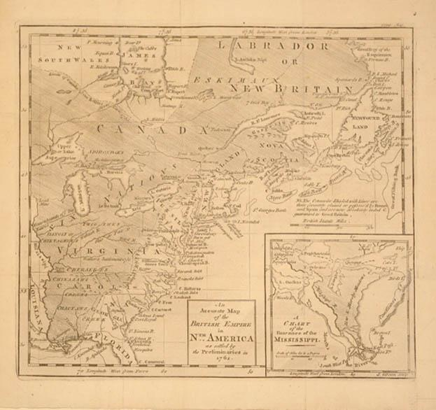 An Accurate Map of the British Empire in Nth America as settled by Preliminaries in 1762./(...
