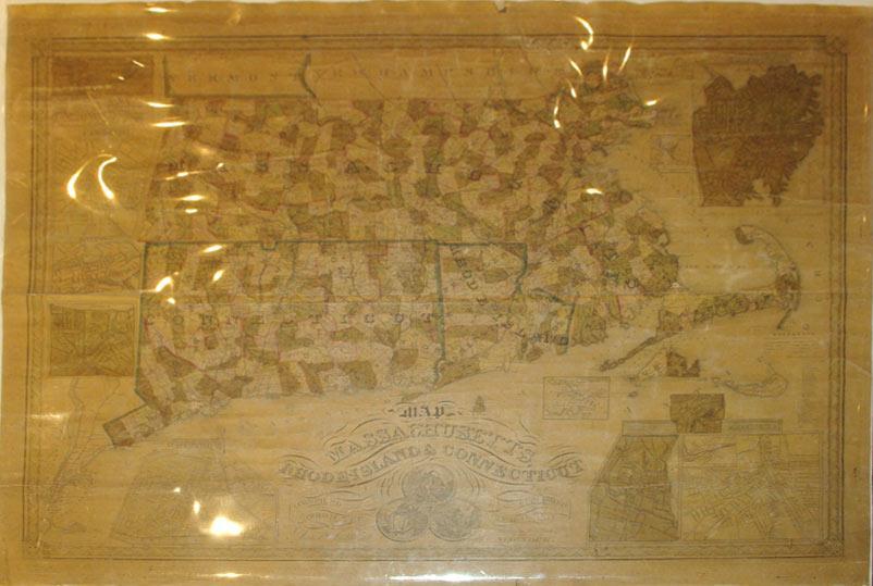 Map of Massachusetts, Rhode Island & Connecticut/(insets) Norwich, New Haven, Salem, ...