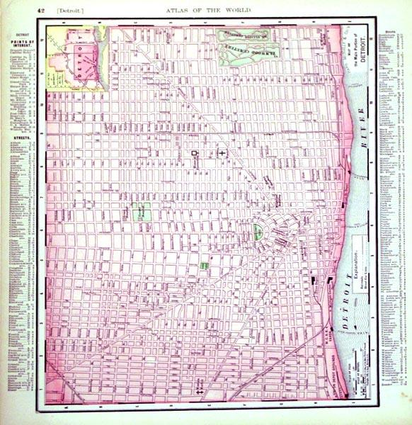 Rand, McNally & Co.'s Map of the Main Portion of Detroit/(inset) Outline Map of ...