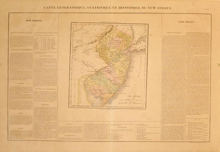 Carte Geographique, Statistique et Historique du New-Jersey: J. A. Buchon