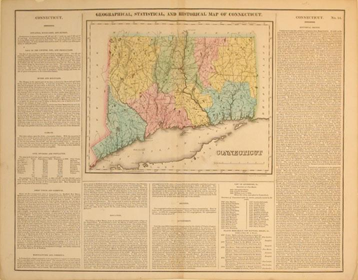 Geographical, Statistical, and Historical Map of Connecticut: Young & Delleker
