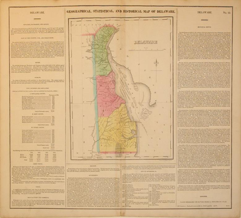 Geographical, Statistical and Historical Map of Delaware: Carey & Lea