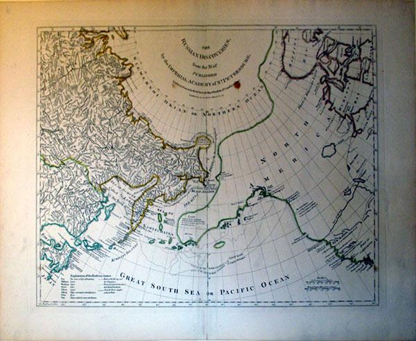 The Russian Discoveries, from the Map Published by the Imperial Academy of St. Petersburg.: Thomas ...