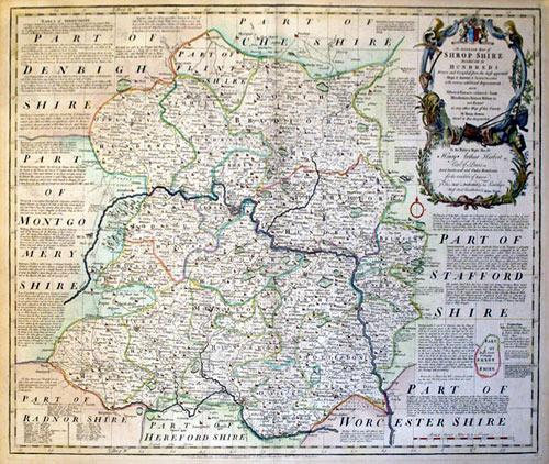 An Accurate Map of Shrop Shire Divided into its Hundreds Drawn and Compiled from the most approved ...
