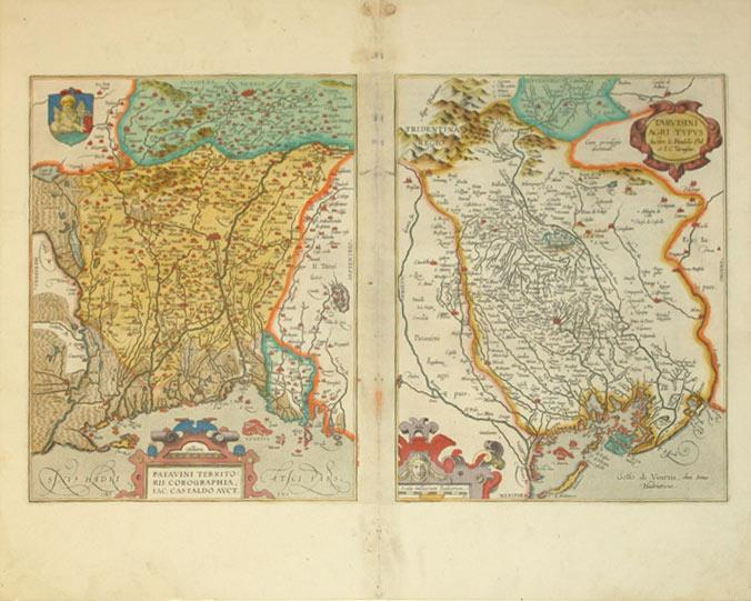 Patavini Territorii Corographia, Iac. Castaldo Auct./Tarvisini Agri Typus. (Italy/Venice)...