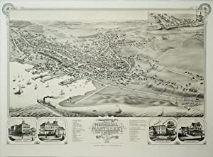 Bird's Eye View of the Town of Nantucket in the State of Massachusetts: Lithograph by Beck and...