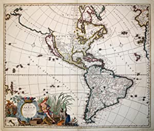Recentissima Novi Orbis Americae Septentrionalis et Meridionalis Tabula. (North and South America):...