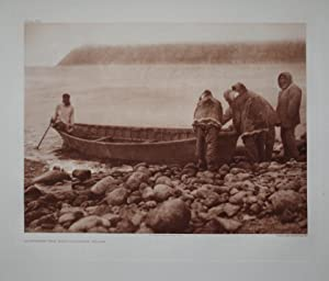 Launching the Boat - Little Diomede Island, Plate 704 from The North American Indian. Portfolio XX:...