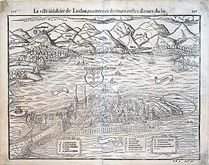 La ville insulaire de Lindaw, enuironnee de toutz coftez d'eaues du lac (Lindau, Switzerland):...