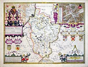 Bedford Shire And The Situation of Bedford described with the armes of thos Honorable Familyes that...