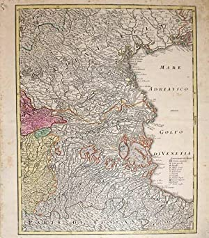 Untitled map, Northern Italy, Venice to Ravenna on the Adriatic Coast: Georg Matthaeus Seutter the ...