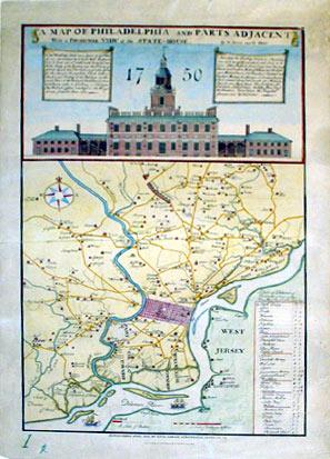 A Map of Philadelphia and Parts Adjacent With a Perspective View of the State-House 1750: N. Scull ...
