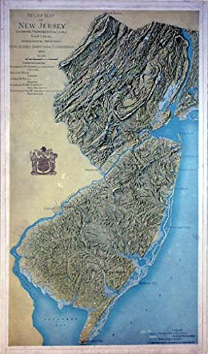 Relief Map of New Jersey Showing Proposed Sea Level Ship Canal Intracoastal Waterway: C. P. Gray
