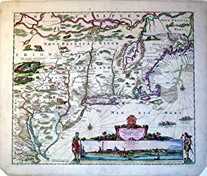 Novi Belgii Noveque Angliae Nec Non Pennsylvaniae et Partis Virginiae Tabula multis in locis ...