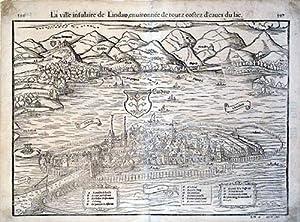 La ville insulaire de Lindaw, enuironnee de touts costes d'eaues du lac. (Lindau/...