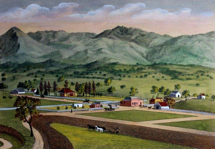 """View of the Town of Ballard Thompson and West Very Good From History of Santa Barbara County, this hand colored lithograph depicts the town of Ballard. Measuring 8.5"""" x 11.75"""", some foxing is evident throug"""